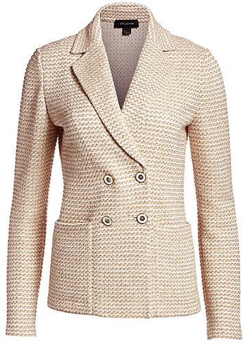 Rope Tweed Knit Double Breasted Jacket - Cream Cork - Size 4