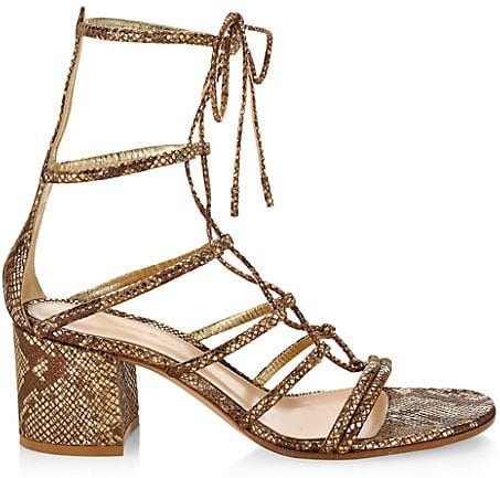 Dallas Snakeskin-Embossed Metallic Leather Lace-Up Sandals - Mekong - Size 37 (7)