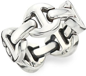 Heritage Dame Classic Tri-Link Sterling Silver Ring - Silver - Size 9