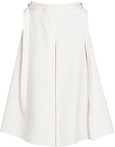 Sateen A-Line Pleat Skirt - Stone White - Size 42 (6)