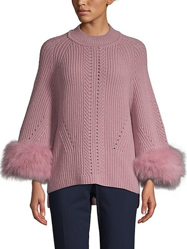 Fox Fur-Cuff Cashmere Sweater