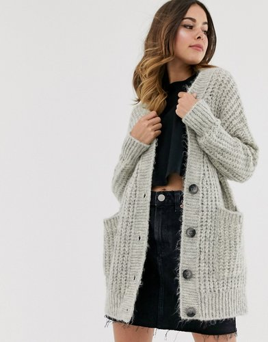 rib knit button cardigan in oversized shape-Gray