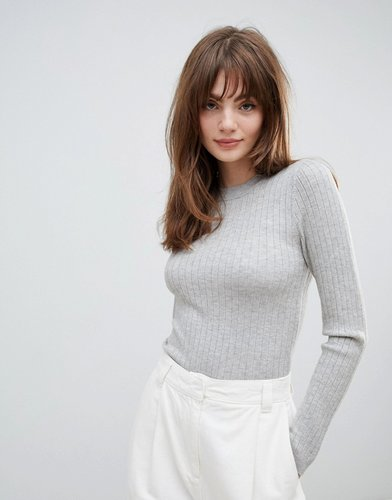 ribbed sweater in fine knit-Stone