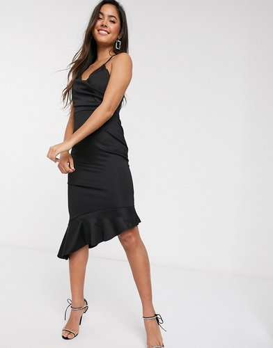 scuba cami pephem midi dress-Black