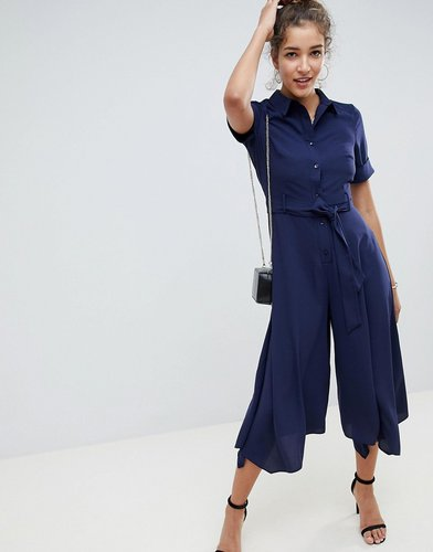 shirt jumpsuit with hanky hem and belt detail-Navy