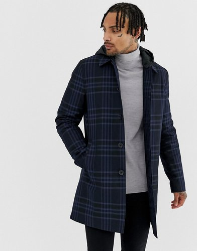 trench coat in navy check with removable hood