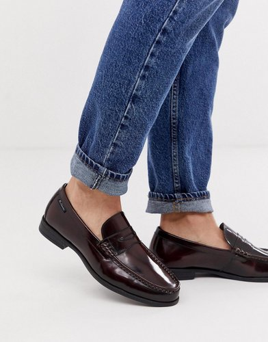 wide fit leather penny loafer in bordo-Red