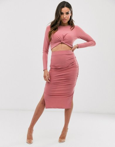 ruched midi skirt in mauve-Pink