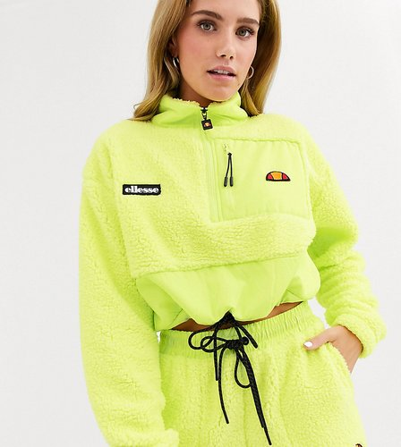 half zip high neck top with chest logo in sherpa two-piece-Green