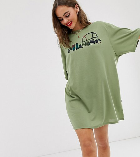recycled oversized t-shirt dress with palm front logo-Green