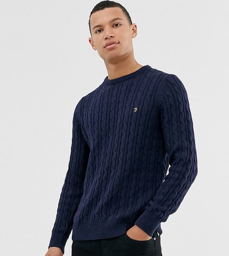 Ludwig cotton cable crew neck sweater in navy