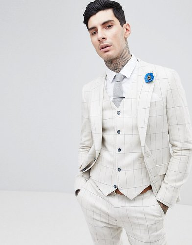 Skinny Fit Wedding Windowpane Check Suit Jacket-Cream
