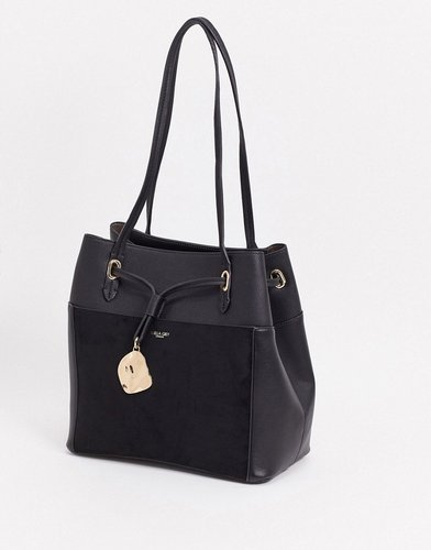 Luella Gray tote with suede contrast front pocket in black