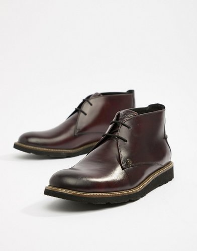 Leather Lace Up Boots in Oxblood-Red