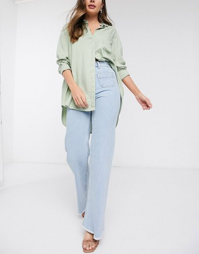 & Other Stories organic cotton super high rise raw hem flare jeans in blue