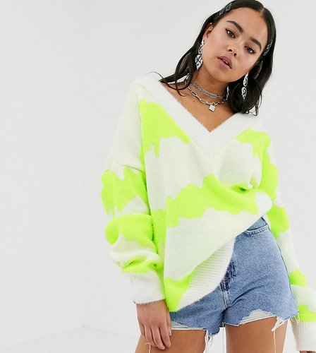 inspired v neck sweater in tie dye-Yellow