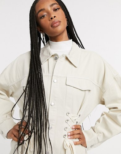 Edna organic cotton lace-up detail shirt in white-Cream