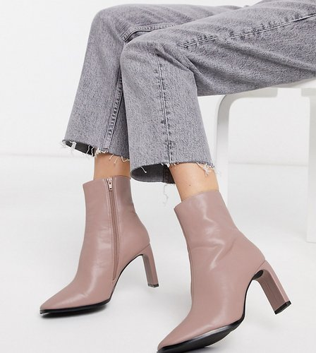 Exclusive Lulu vegan heeled ankle boots in pale pink