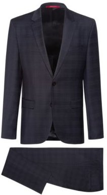 Extra-slim-fit checkered suit in stretch virgin wool