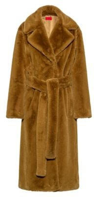 Belted relaxed-fit coat in faux fur