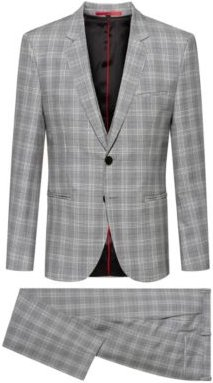 Extra-slim-fit three-piece suit in checked virgin wool