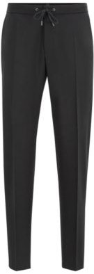 Slim-fit pants in traceable wool with drawstring waist