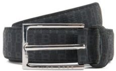 Italian-made belt in coated fabric with monogram print
