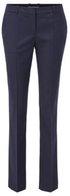 Regular-fit pants in patterned wool with front crease