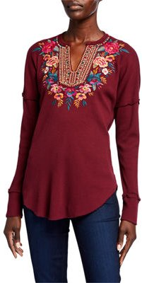 Katrina Embroidered Thermal V-Neck Top