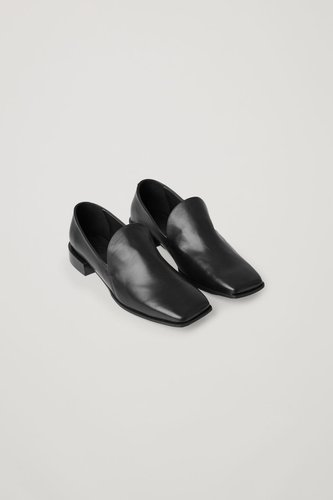 LEATHER LOAFERS WITH GEOMETRIC HEEL