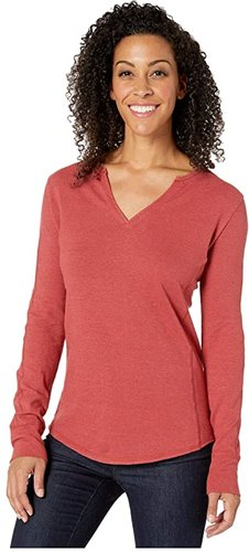 Mountain Henley (Brick Red) Women's T Shirt