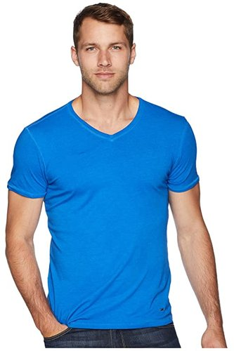 Trace V-Neck (Blue) Men's T Shirt