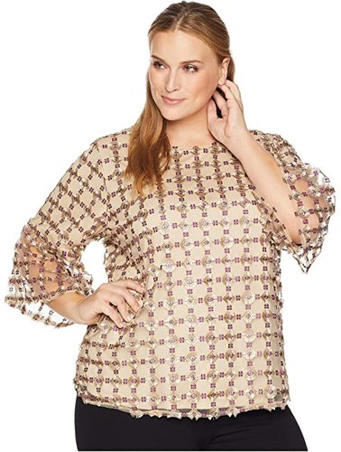 Plus Size Embroidered Net Bell Sleeve Blouse (Aubergine/Shine Light Gold) Women's Blouse