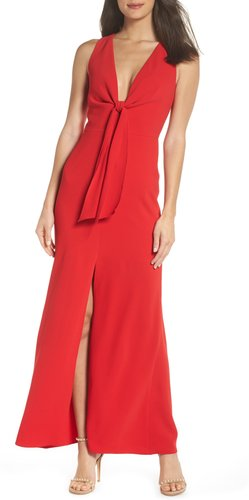 Plunge Neck Tie Front Maxi Dress, Size Small - Red