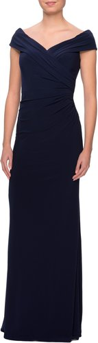 Ruched Surplice Jersey Gown