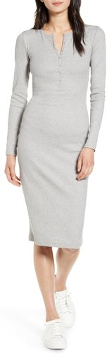 Ribbed Button Front Midi Dress