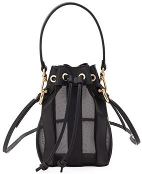 Mon Tresor Mini Leather & Mesh Bucket Bag