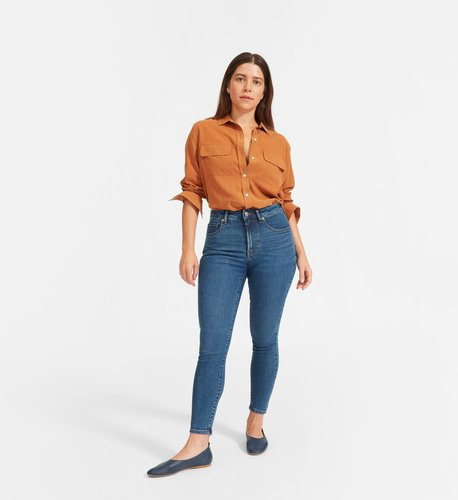 Curvy Authentic Stretch High-Rise Skinny Jean by Everlane in Mid Blue, Size 35