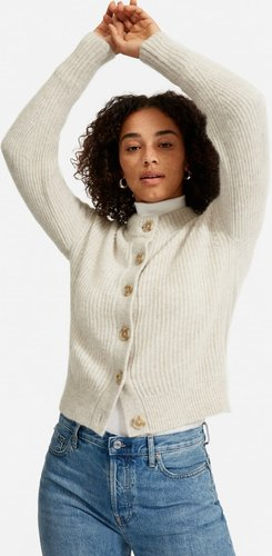 Cropped Alpaca Cardigan by Everlane in Almond, Size L