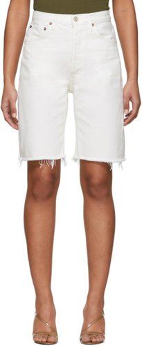 White 90s Mid-Rise Loose Jean Shorts