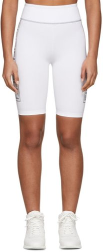 White and Silver Forever Fendi Band Bike Shorts