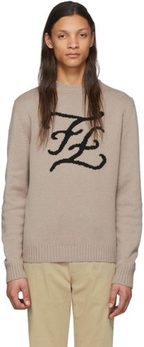 Brown Cashmere Karligraphy Sweater
