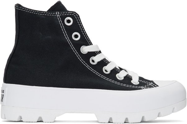 Black and White CTAS Lugged Hi Sneakers