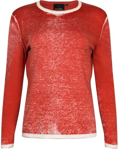 Red Cotton Hand Print Pullover