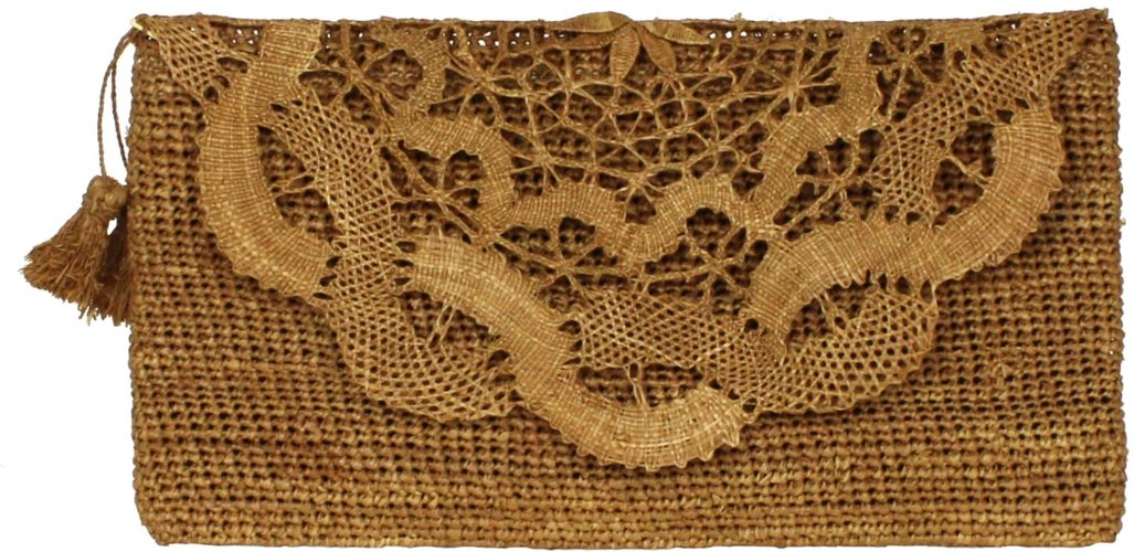 Marylou Brown Handmade Lace Raffia Evening Clutch Bag