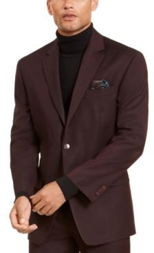 Classic-Fit Stretch Burgundy Neat Suit Separate Jacket