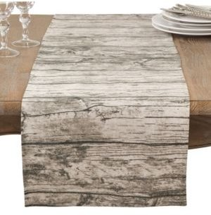 Table Runner with Printed Wood Design