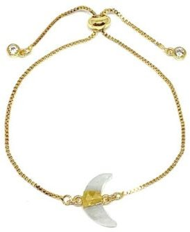 Gold Plated Pull Chain Bracelet with Moonstone Electroform Stone