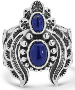 Double Lapis Ring with Feather Scroll work in Sterling Silver