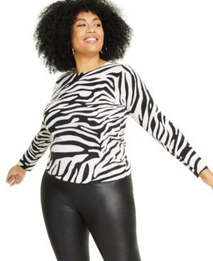Plus Size Cashmere Zebra-Print Sweater, Created for Macy's
